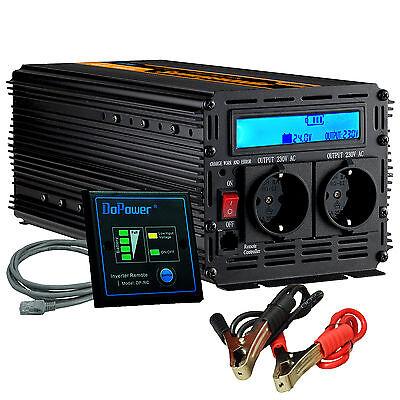 Spannungswandler 2000W/4000W 24V auf 230V Wechselrichter Inverter Softstart LCD