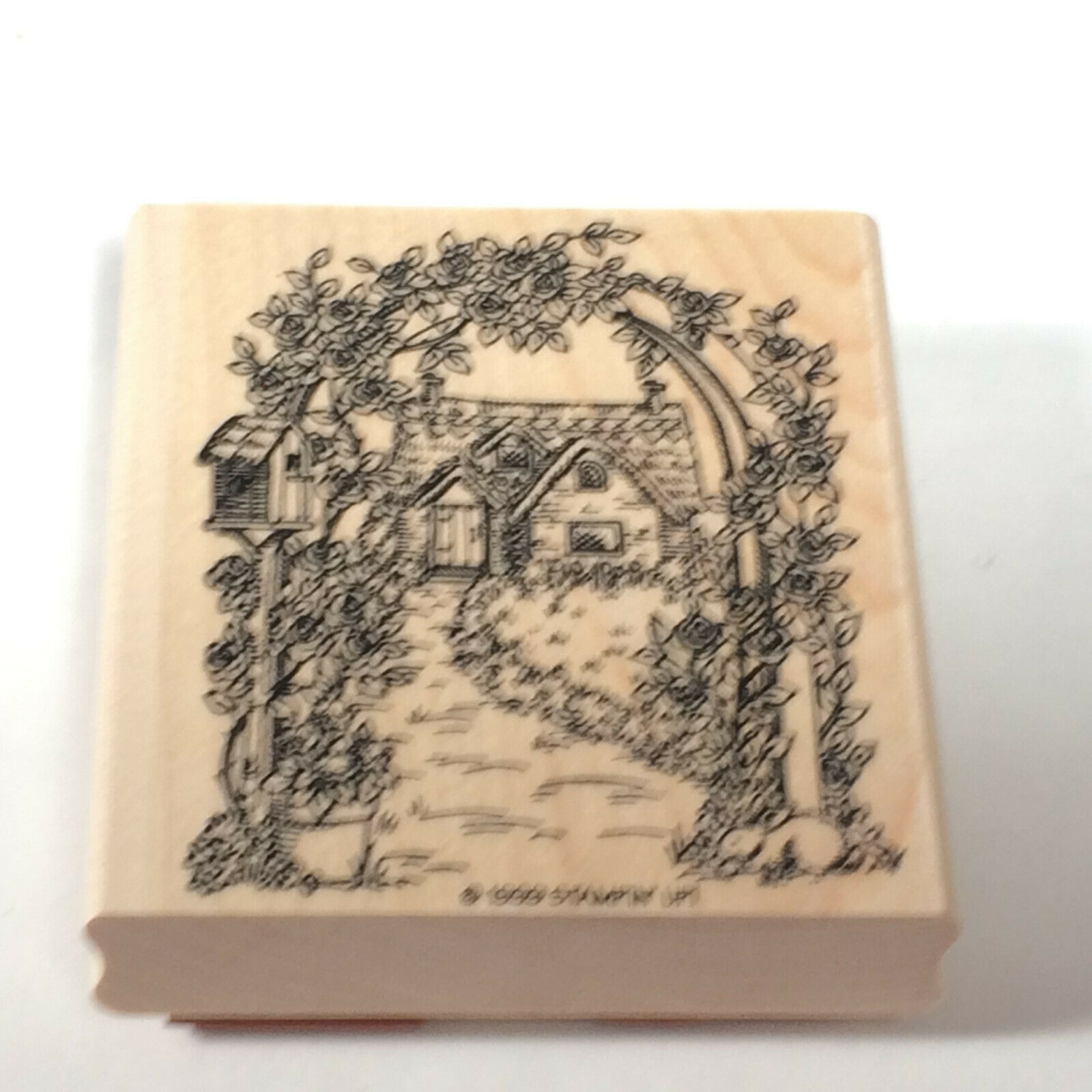 COTTAGE THATCHED ROOF ENGLISH Home ROSE Trestle GARDEN Stampin Up RUBBER STAMP - $22.66