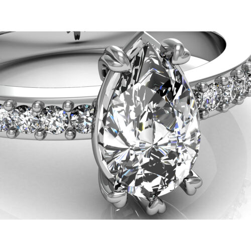 GIA certified Diamond Engagement Ring 1.50 CT Pear Shape 18K White Gold