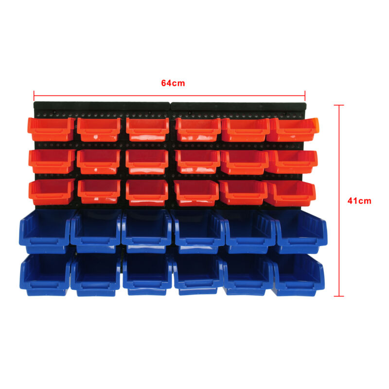 30 pcs plastic bins wall mounted storage garage tools small parts organizer rack ebay. Black Bedroom Furniture Sets. Home Design Ideas