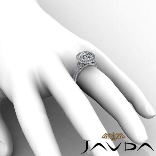 2.7ct Bezel Round Diamond Engagement Halo Pave Ring GIA F VS2 14k White Gold 5