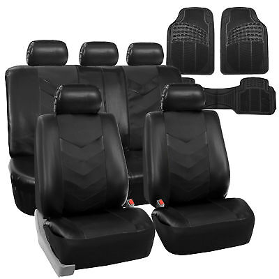 Faux Leather Car Seat Covers for Auto Black W/ Heavy Duty Floor Mats