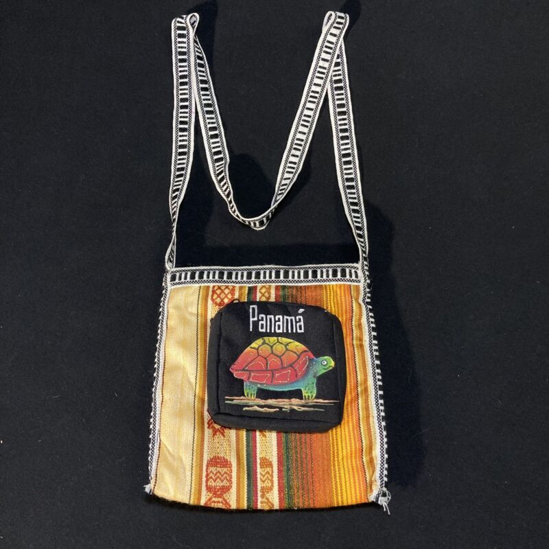 "Handmade Panama Folk Art Mola Bag w. Zipper ~ Painted Turtle ~ 8"" x 8"" ~ EUC"