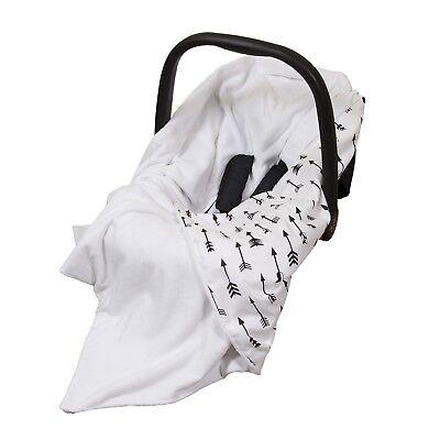 **New Cotton & Soft Plush Baby Car Seat Wrap / Blanket - white with black arrows