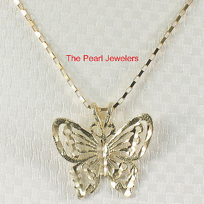 - Beautiful Design Butterfly Handcrafted 14k Solid Yellow Gold Pendant Charm TPJ
