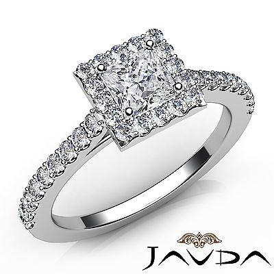 Halo Sidestone Princess Diamond Engagement French Set Ring GIA E Color SI1 1Ct