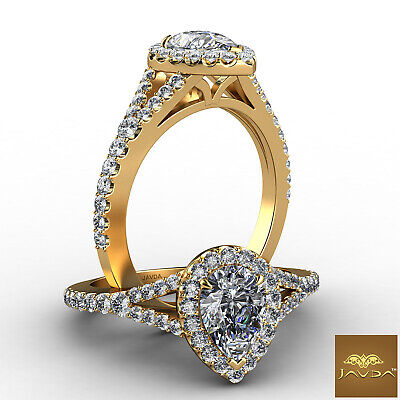 Halo Split Shank Pear Diamond French U Pave Engagement Ring GIA F Color VS2 1Ct