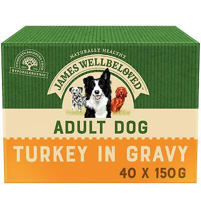 40 x 150g James Wellbeloved Adult Wet Dog Food Pouches Turkey & Rice in Gravy