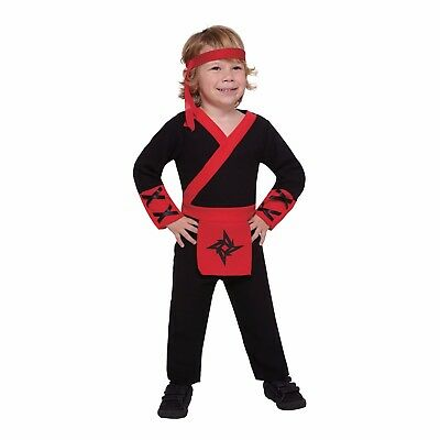 Red Jumpsuit Halloween Costume (Lil Ninja Red, Black Toddler Halloween Costume Jumpsuit/Headband 4-6 Years)