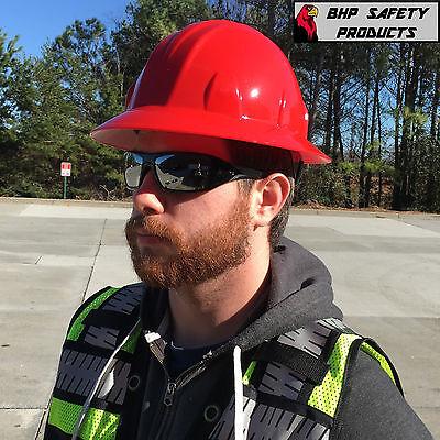 Pyramex Red Full Brim Hard Hat 4 Point Ratchet Suspension Hp24120 Construction