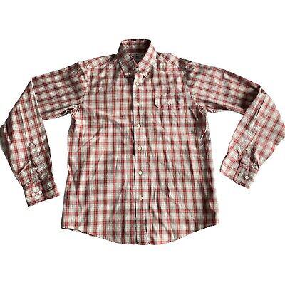 Gant Michael Bastian Cotton Plaid Shirt Red White Size Medium Button Down Collar