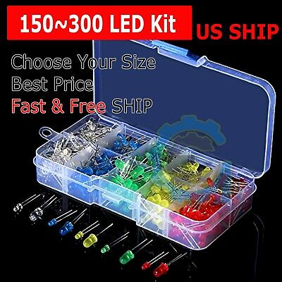 150300 Pcs 3mm 5mm Led Light White Yellow Red Green Assortment Kit For Arduino