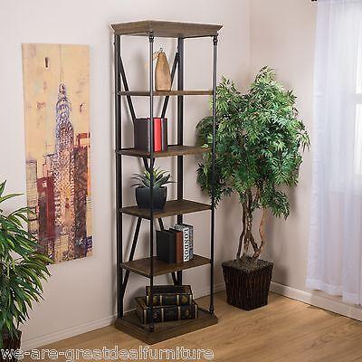 Home Office Furniture 5-Shelf Industrial Dark Khaki Wood Storage Shelf Bookcase