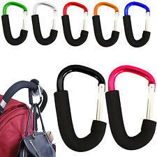 BUGGY CLIPS X2 COLOURED LARGE PRAM PUSHCHAIR SHOPPING BAG HOOK MUMMY CARRY CLIP