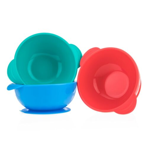 Nuby Sure Grip Silicone Suction Bowl - Fun Colors - Unisex - BPA Free