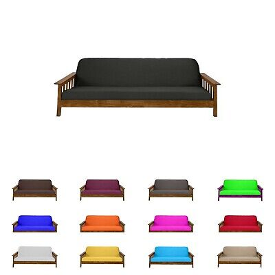 Solid Black Full Size Futon Mattress Cover, Bed Protectors, Slipcovers, Covers