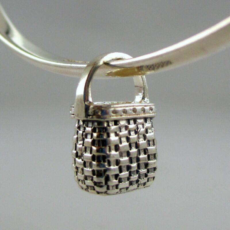 Sterling Silver KEEPSAKE BASKET Charm FOR BRACELET Necklace Pendant VINTAGE New