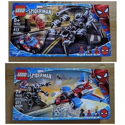 Lego Spiderman 76163 76150 Lot Venom Crawler Spiderjet Vs Venom Mech