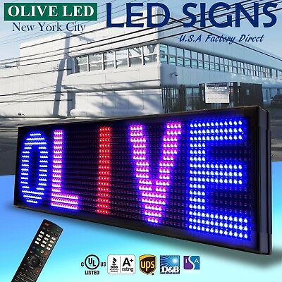 Olive Led Sign 3color Rbp 12x80 Ir Programmable Scroll. Message Display Emc