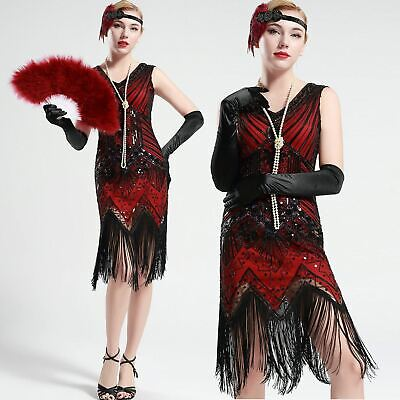 US Stock 1920s 20s Gatsby Black and Red glass beaded Fringe Flapper -