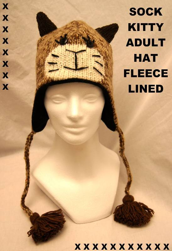 ADULT CAT HAT knit costume stitch face FLC LINED brown toque beanie animal cap