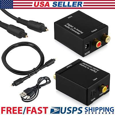 Optical Coax Toslink Digital to Analog Converter Audio Adapter With Fiber Cable