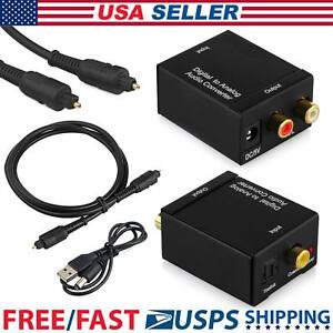Optical Coax Toslink Digital to Analog Converter Audio Adapter RCA L/R Cable USA
