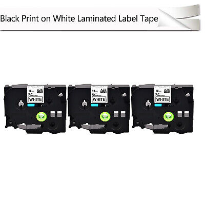3pk Tze-241 Tz-241 34 Black On White Tape 18mm For Brother P-touch Label