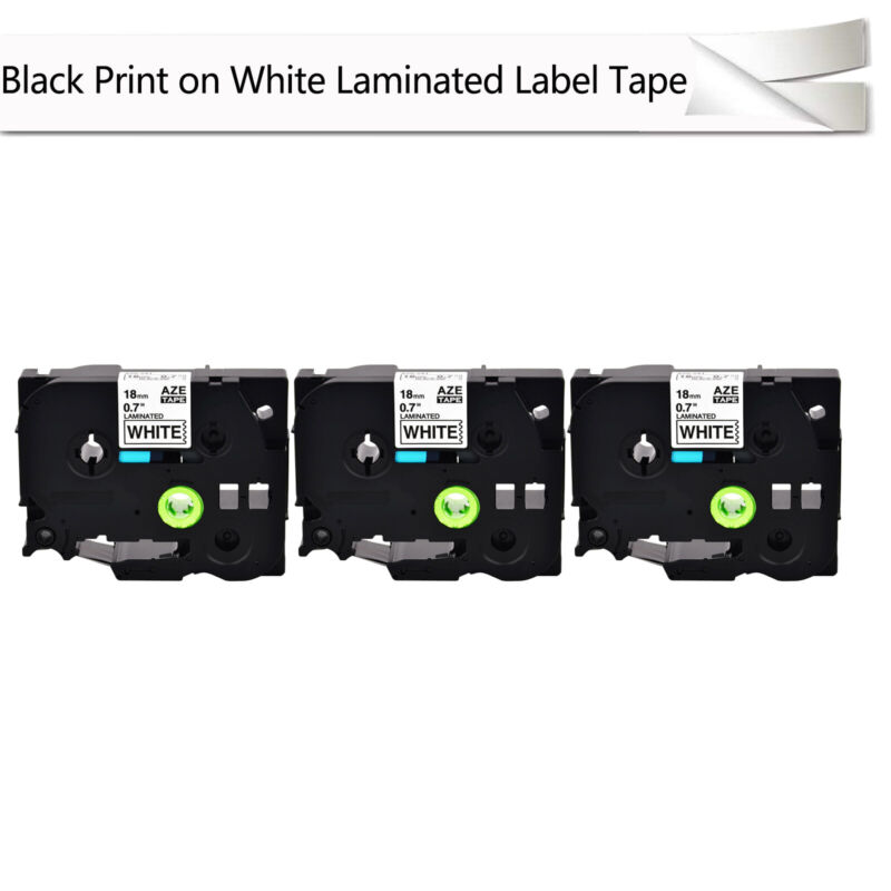 "3PK TZe-241 TZ-241 3/4"" Black on White tape 18mm For Brother P-Touch Label"