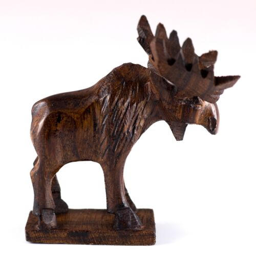 "Unique Hand Carved Ironwood Moose Figurine Wood Carving 2.5"" High Made In USA"
