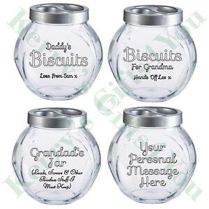 Personalised Engraved Biscuit Sweet Storage Jar Birthday Gift Grandad Dad Mum