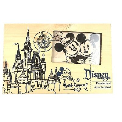 Disney Parks Walt Disney Castle Blueprint Wood Wooden Frame 4 x 6 Photo