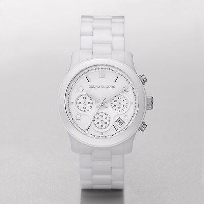 New Michael Kors MK5161 Women's Runway Ceramic White Midsize Chronograph Watch