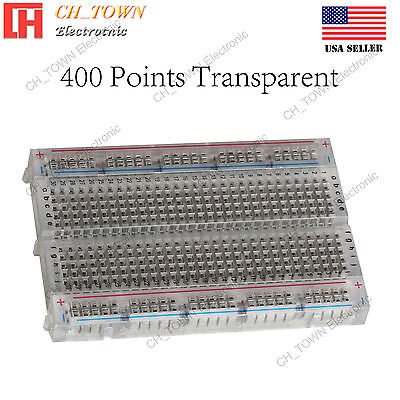 400 Tie Point Solderless Pcb Mb-102 Mb102 Transparent Breadboard For Arduino Usa