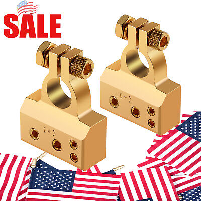 2 x Battery Terminal Clamps Positive+Negative Plated Car Auto 4/8 Awg Gauge Gold ()