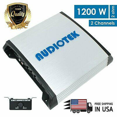 New Audiotek 2 Channels 1200 WATTS Bridgedable Car Audio Stereo Amplifier AT900s