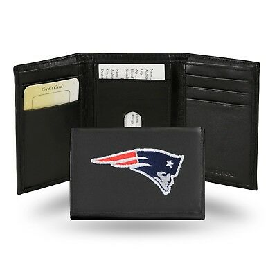 New England Patriots Nfl Team Logo Embroidered Leather Trifold Wallet