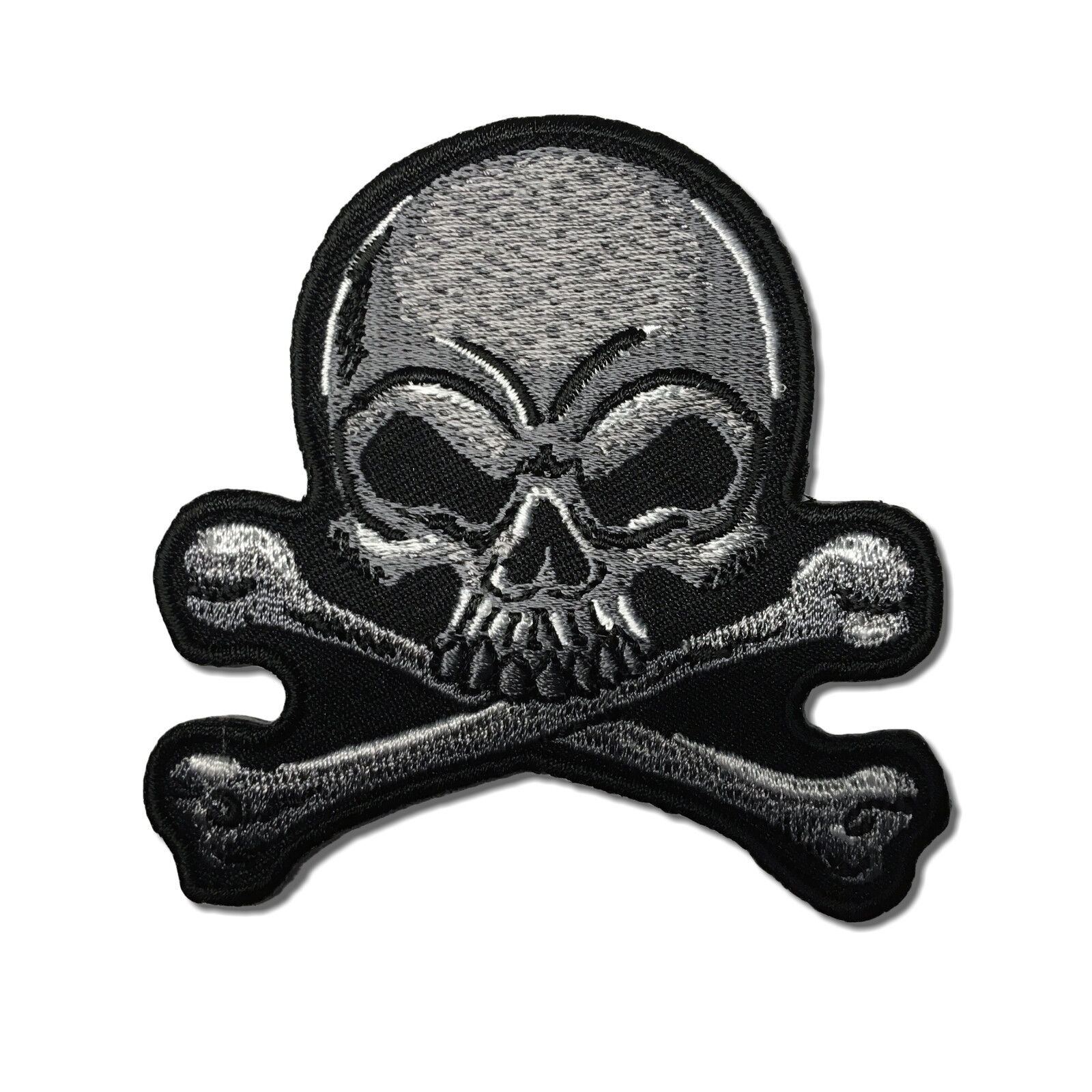 Iron On// Sew On Embroidered Patch Badge Rebel Skull and Crossbones On Red Circle