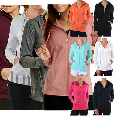 Womens Classic Active Basic Cotton Hooded Hoodie Jacket Sweatshirt Zip-Up Zipper Women Basic Hoodie Jacket