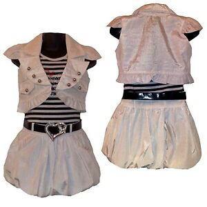 Girls PARTY Summer Dress, Shrug/ Jacket&Belt 3 Piece Set Waistcoat  3