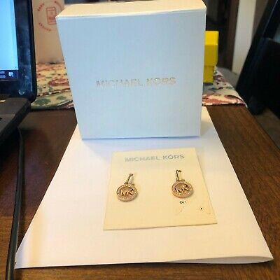 Michael Kors Women MK logo Rose Gold Tone Drop Earrings Crystals