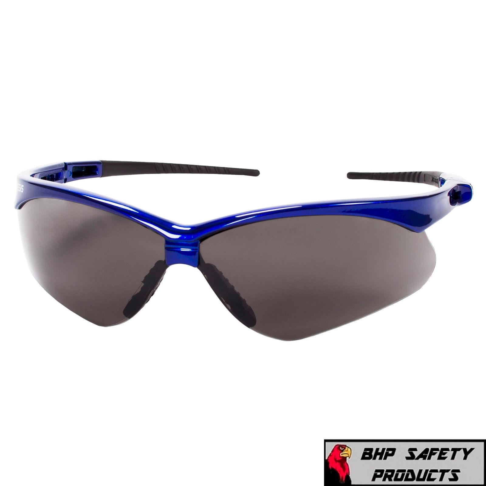 JACKSON NEMESIS SAFETY GLASSES SUNGLASSES SPORT WORK EYEWEAR ANSI Z87 COMPLIANT 47387- Blue Frame/Smoke AF Lens