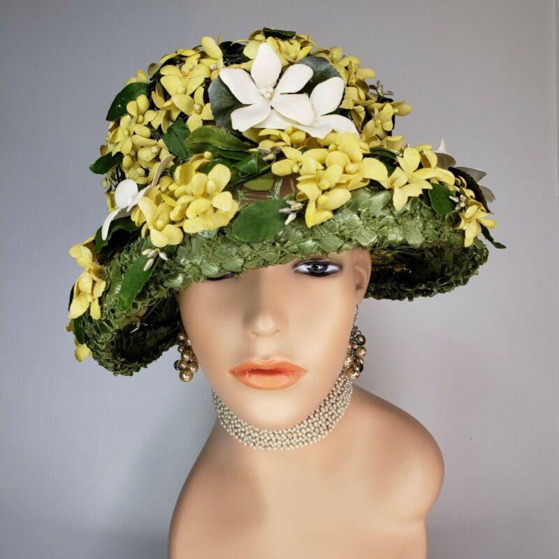 Vintage MR. ALBERT Millinery Floral Cloche Bucket Hat 60s Ladies Tea Derby Style