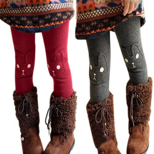 Kids Girls Fleece Lined Skinny Pants Winter Warm Stretch Leg