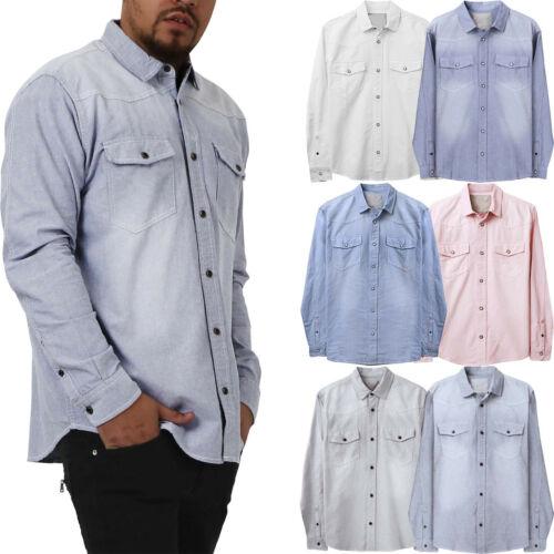 Mens Button Down Shirts Casual Western Slim Fit Long Sleeve Shirt Denim Pockets