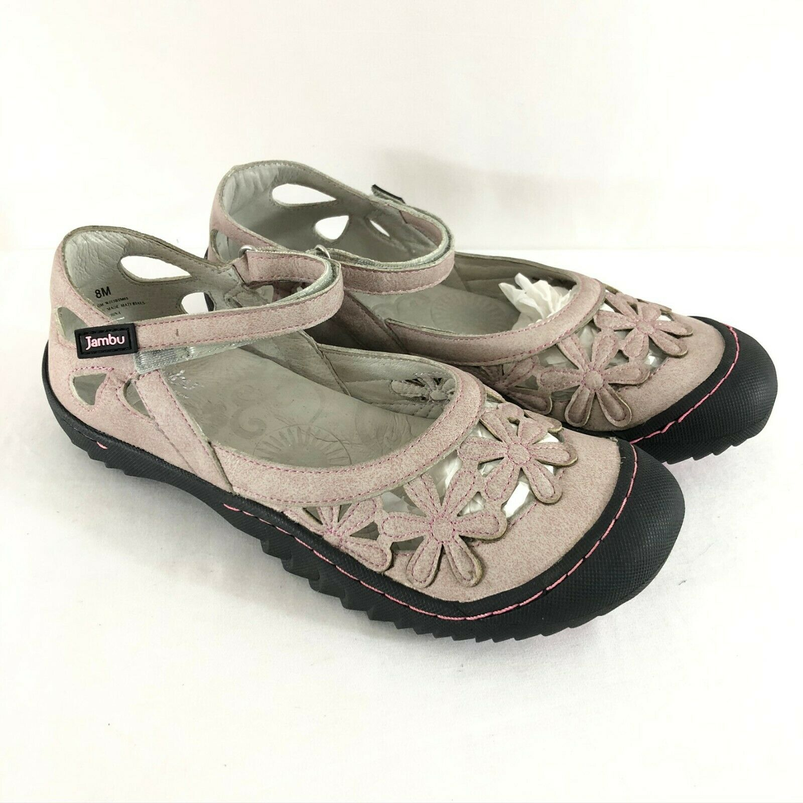 Jambu Womens Flats Mary Jane Floral Faux Leather Ankle Strap