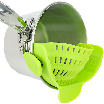 Green Rubber Strainer Snaps Onto Pots Pans for Cooking Pasta Rice Kitchen Tool Colanders, Strainers & Sifters