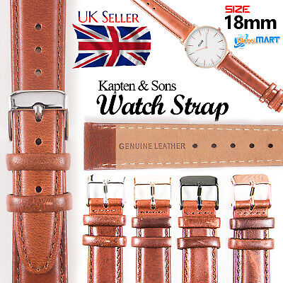 Kapten & Son Mens Genuine Leather Watch Strap Wristwatch Replacement Band 18mm