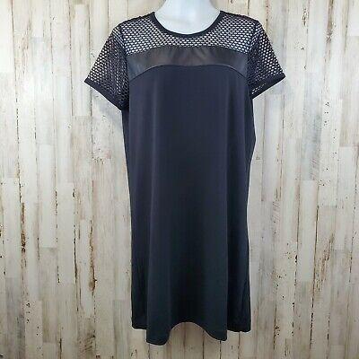 Fabletics Womens Dress L Black Large Mesh Shoulder Sleeves WD10