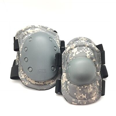 Set of Elbow/Knee Pads Molded Non-Slip Cap with Adjustable Straps, ACU